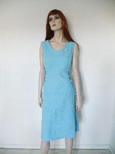 Aquablaues Leinenkleid