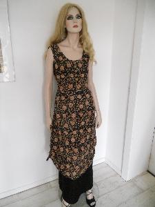 Doppellagiges Leinenkleid mit Naturfarben bedruckt