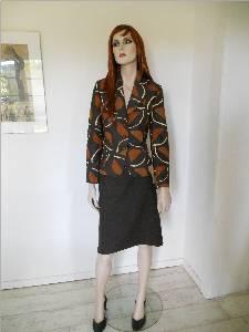 Blazer aus Designerstoff in Gewürzfarben Rock dunkelbraune Wolle